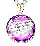 "I Love You to the Moon and Back with Purple Accents 18"" Fashion Necklace"