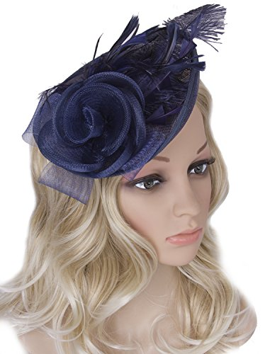 Homemade Gangster Woman Costumes (Vijiv Women Vintage Derby Fascinator Hat Pillbox Headband Feather Cocktail Tea Party, Navy Blue, One Size)