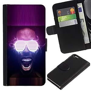 [Neutron-Star] Modelo colorido cuero de la carpeta del tirón del caso cubierta piel Holster Funda protecció Para Apple Apple (4.7 inches!!!) iPhone 6 / 6S [Neon Glow Party Glasses]