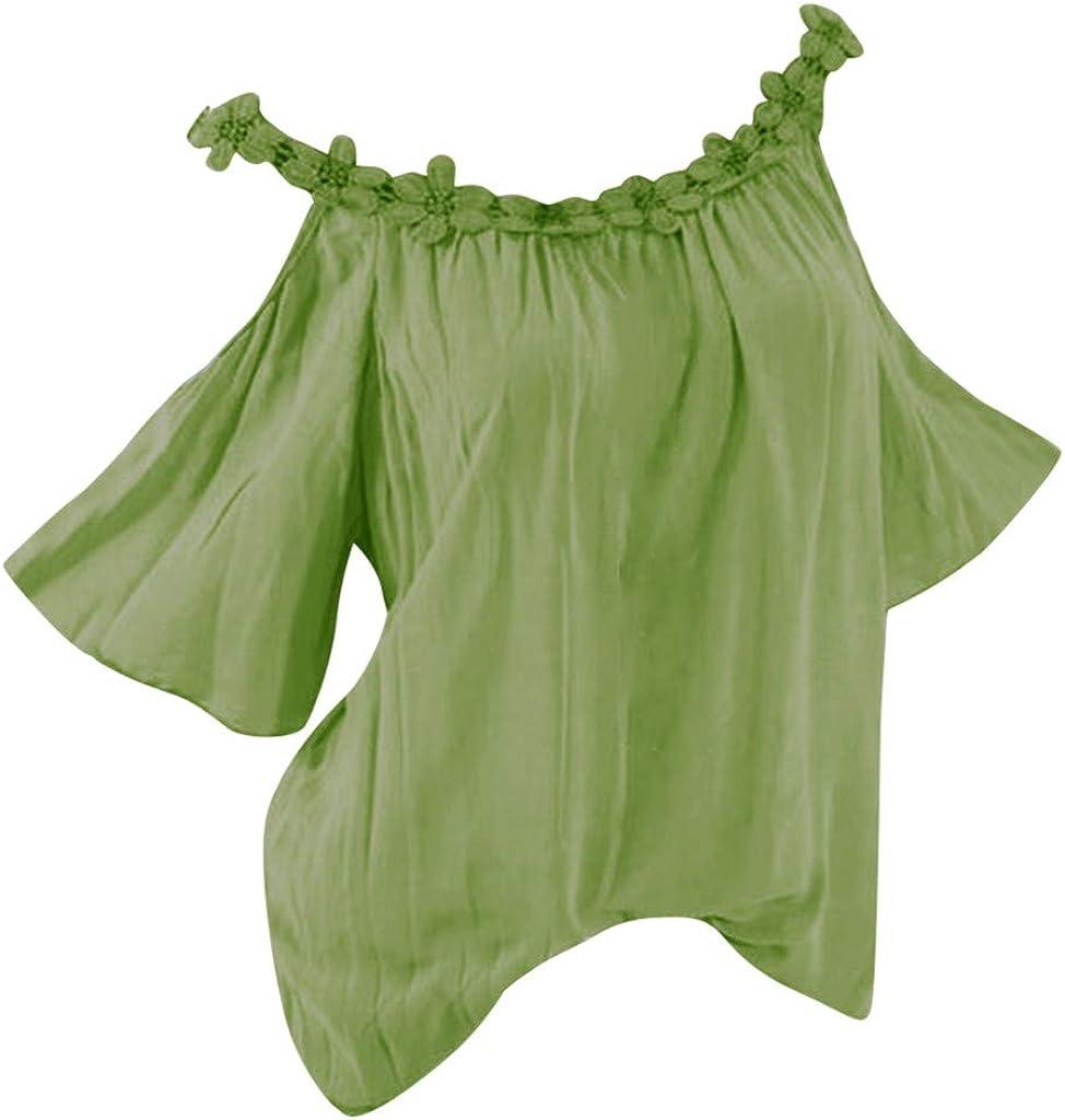 Aniywn Women Summer Lace Patchwork Short Sleeve O-Neck T-Shirt Blouse Off