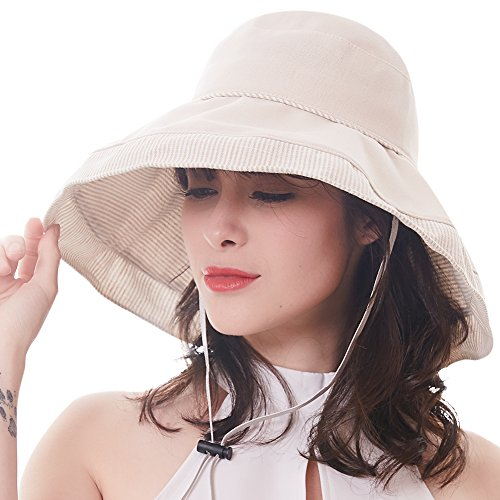 FURTALK Women's Sun Beach Bucket Hat Foldable Wide Brim Summer UPF 50 Anti-UV Dress Hat, Adjustable Drawstring Chin Strap With Cord Lock, 2018 New Design