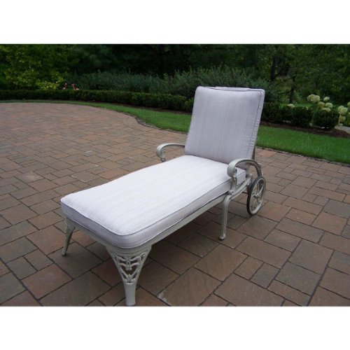 Oakland Living Mississippi Cast Aluminum Chaise Lounge in Antique Bronze with Cushion