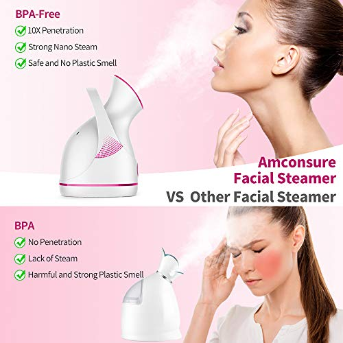 Amconsure Facial Steamer - Nano Ionic Facial Steamer Warm Mist Moisturizing Face Steamer Home Sauna SPA,Pores Cleanse Clear Blackheads Acne Impurities Skin Cares - 5 Piece Stainless Steel Skin Kit