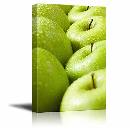 (Canvas Prints Wall Art - Large Group of Green Granny Smith Apples in a Row | Modern Wall Decor/Home Decoration Stretched Gallery Canvas Wrap Giclee Print & Ready to Hang - 24