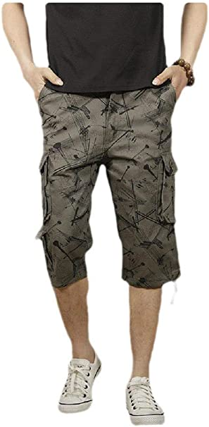 Abetteric Mens Multi-Pockets Rugged Wear Baggy Camo Capri Cargo Work Pants