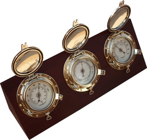 Ambient Weather WS-GL026 Porthole Collection Weather Center with Thermometer, Hygrometer, Barometer