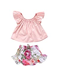 Newborn Baby Girls Ruffle Pink T-shirt + Floral Flowers Shorts Outfits Clothes