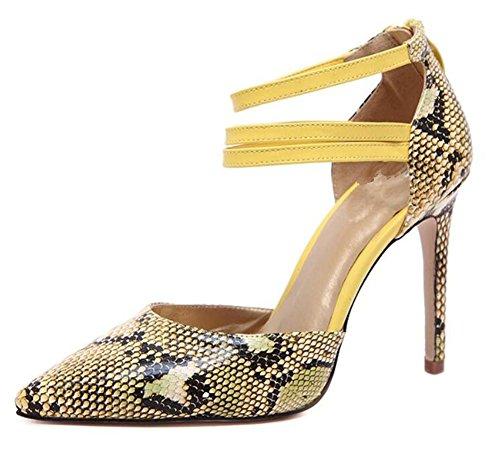 Chaussures Court Femme Chaussures à talons hauts avec peau superficielle , yellow , 36
