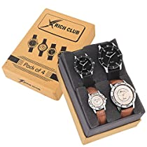 Rich Club Analogue Black,Silver Dial Unisex Family Combo Pack Watch