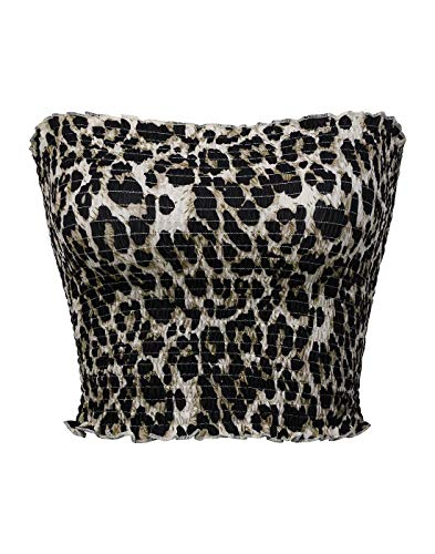 KalyChic Womens Summer Casual Strapless Pleated Print Bandeau Tube Crop Tops Leopard_1 M