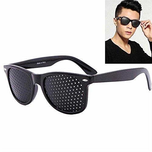 Pinhole Glasses,Kobwa Vision Correction Glasses Reticular Eyesight Protection Glasses Anti-Fatigue Glasses Prevention of Near Eyesight Improve Glasses, Black