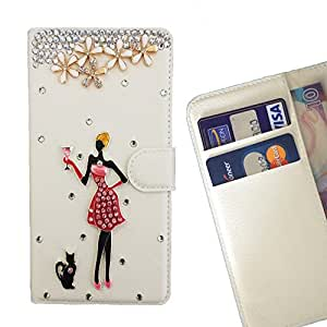 - Love flowers Sexy Girl/ Slot Card Flip Case Cover Skin Bling Rhinestone Crystal Leather - Cao - For ZTE X9