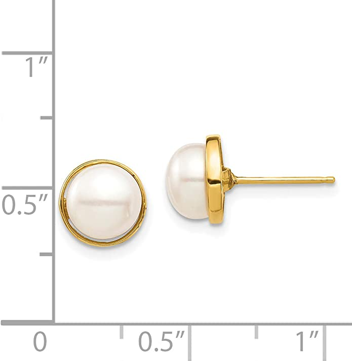 14k Yellow Gold Polished 4-5mm White Rice Freshwater Cultured Pearl Post Earrings by Madi K