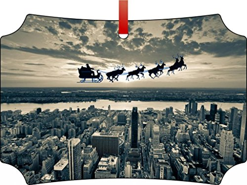 Vintage Santa and Sleigh Riding Over New York City-Berlin Aluminum Christmas Ornament with a Red Satin Ribbon/Holiday Hanging Tree Ornament/Double-Sided Decoration/Great Unisex Holiday - Trees New City York Christmas