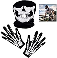 iPobie Skull Face Cover White Skeleton Gloves for Motorcycle Bicycle Half Face Skeleton Cover Halloween Outdoo