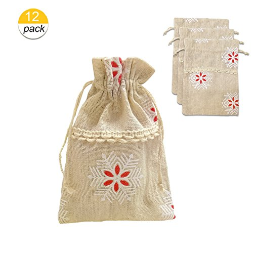 - Yunko 12 PCS Cotton Burlap Drawstring Gift Bags for Easter/Wedding (Snowflake)