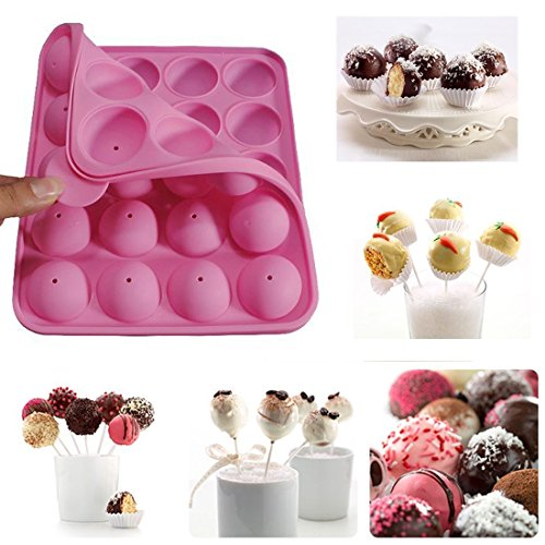 Rbenxia Silicone Cake Mold 20-cavity Half Circle Lollipop Party Cupcake Baking Mold Cake Pop Stick Mold Tray Pink (Cake Pop Molds)