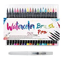 Scorpiuse Watercolor Brush Pen Set 20 Piece Assorted Water Coloring Painting Markers Flexible Brush Tips for Adult Coloring Books, Manga, Comic, Calligraphy