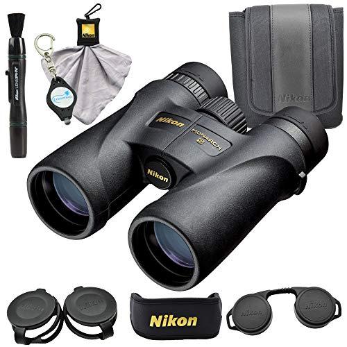 Nikon 7576 Monarch 5 8×42 Binocular Waterproof ED Glass Bundle with Micro Fiber Cleaning Cloth, Lens Pen and Lumintrail Keychain Light