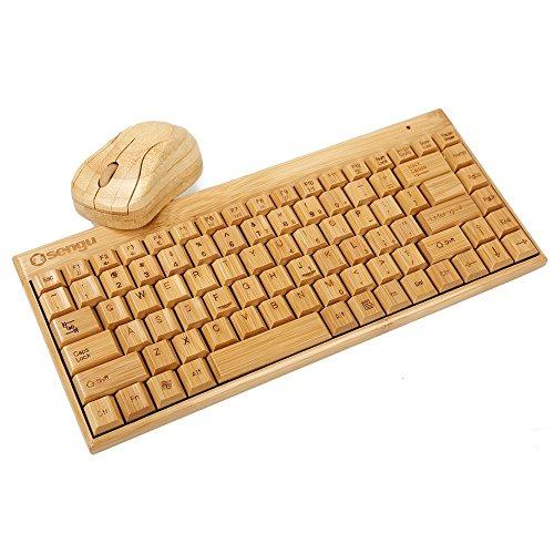SNGU SG-KG101-N+MG94-N 2.4GHz Full Bamboo Handmade Wireless Keyboard and Mouse Combo(1 Key pad)