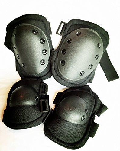 Bargain Crusader Military Tactical Knee Pad Elbow Pad Set Airsoft Knee Elbow Protective Pads Combat Paintball Skate Outdoor Sports Safety Guard Gear (Woodland Camouflage)