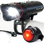 Superbright Bike Light USB Rechargeable LED – Free Taillight Included- Cycle Torch Shark 500 Set - 500 Lumens