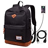 """Lmeison Waterproof School Bag Durable Travel Camping Outdoor Backpack Lightweight Casual Daypack Fashion Student Rucksack with USB Charging Port for Boys Girls Men Women, Fits Under 14"""" Laptop"""