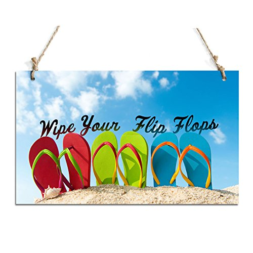 "Rustic Plaque Wipe Your Flips Flops Chalkborard Sign Perfect For Home Decor (10"" x 6"")"