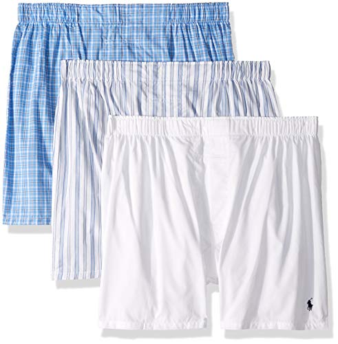 Polo Ralph Lauren Men's Classic Fit 3 Packaged Woven Boxers White/Jarvis Stripe/Cannes Plaid Small
