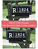 Monogram with Dots Personalized Mailbox Decals Stickers Vinyl Address, Set of 2 Jumbo