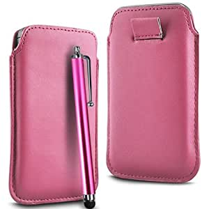 LIGHT PINK PREMIUM PU LEATHER PULL FLIP TAB CASE COVER POUCH & HIGH SENSITIVE STYLUS PEN FOR NOKIA ASHA 308 BY N4U ACCESSORIES