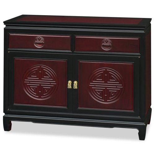 ChinaFurnitureOnline Hand Carved 40in Longevity Design Rosewood Sideboard – Two Tone(Dark Cherry and Black Ebony) For Sale