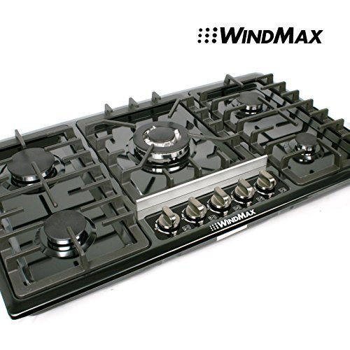 WindMax® Brand Design 34″ Black Titanium Stainless Steel Built-in 5 Burner Stoves Oven LPG/NG Gas Hob Cooktop