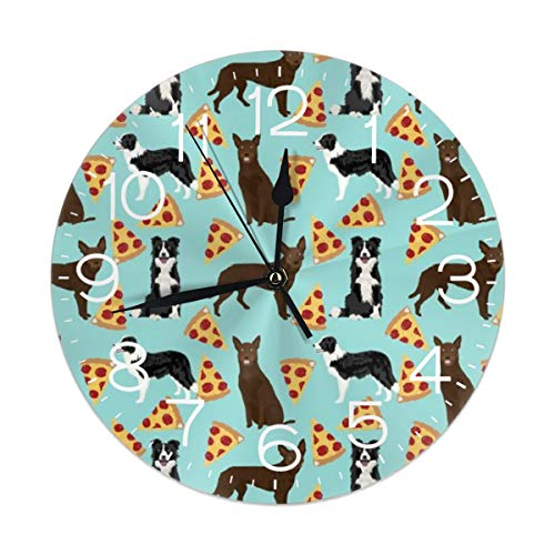 Australian Kelpie Border Collies Pizza Wall Clock Silent Non Ticking, Round Easy to Read for Home Office School Clock