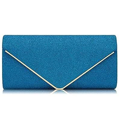 Milisente Women Clutches Glitter Sequins Evening Bag Elegant Envelope Shoulder Bag (Deep Blue)