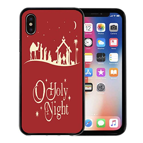 Semtomn Phone Case for Apple iPhone Xs case,Holy Christmas Nativity Scene Silhouette Manger Jesus Baby Family for iPhone X Case,Rubber Border Protective Case,Black for $<!--$9.99-->