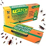 UCatch 12 Pack Cockroach Glue Trap, Bait Included, Effective Solution| Eco- Friendly, Non Poison Pest Control Products, Chemical Free, Non Toxic | Works on Crawling Insects, Bugs, Spiders, Ants