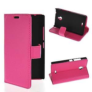 De alta calidad color rosa y negro de calidad para NETCHER de piel sintética tipo libro diseño con motivos geométricos de ranuras para tarjetas de felicitación navideña con y para Nokia X2 SIM de mástil de doble, piel sintética, hot pink, Nokia X2 Dual SIM