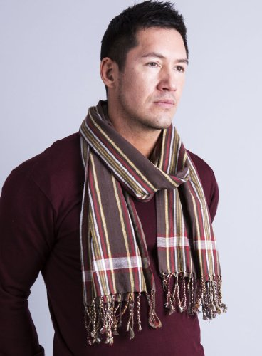 Men's George Modern Multicolor Stripe Scarf Natural Cotton, Brown by Anika Dali (Image #5)