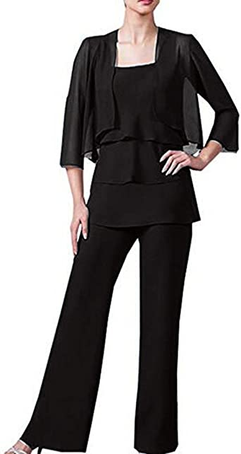 3pcs Mother of The Bride or Groom Dresses Pant Suit with Long Jacket Party Gown