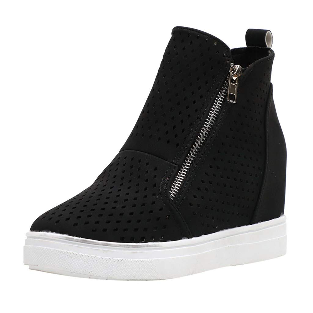 Kauneus Womens Wedge Sneakers Platform High Top Wedge Booties Slip on Heeled Hollow Out Ankle Boots Black by Kauneus Fashion Shoes