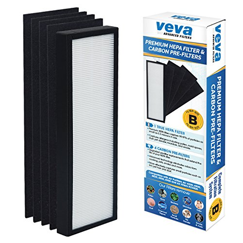 VEVA True HEPA Replacement Filter Including 4 Activated Carbon Pre Filters compatible with Germ Guardian AC4300/AC8000/AC4900/AC4825 Air Purifier Series and FLT4825 Filter