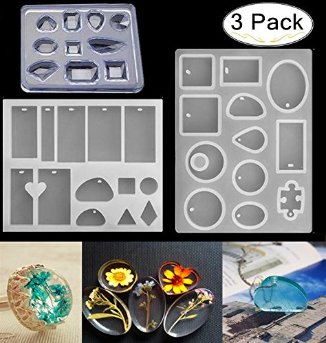 3 Pack Silicone Jewelry Casting Molds, Magnolora Silicone Resin Jewelry Pendant Necklace Molds with Popular Jewelry Shapes and Hanging Hole for DIY Jewelry Craft Making, Polymer Clay, Resin Epoxy Maki