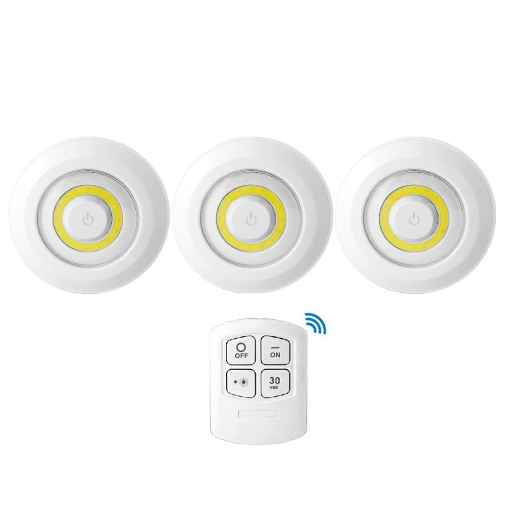 Uninex (3 Pack) LED Portable Disk Light Remote Control Multi-Use Battery Powered