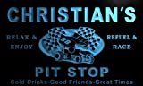 pu235-b Christian's Pit Stop Car Racing Bar Beer Neon Light Sign