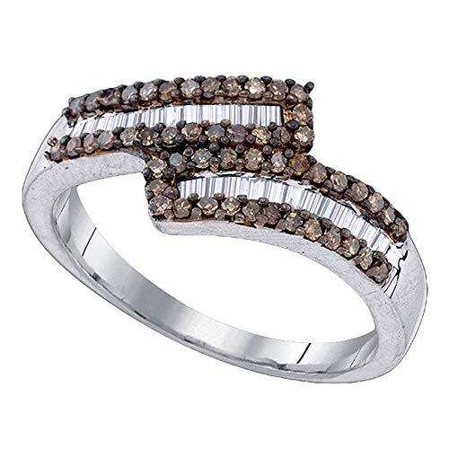 Dazzlingrock Collection Sterling Silver Womens Round Brown Diamond Bypass Band Ring 1/2 Cttw