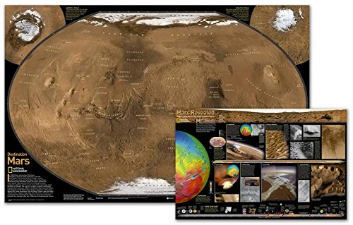 Mars, The Red Planet, Poster Map (Two Sided) Map Type: Laminated (20'' x 31'') by National Geographic Maps