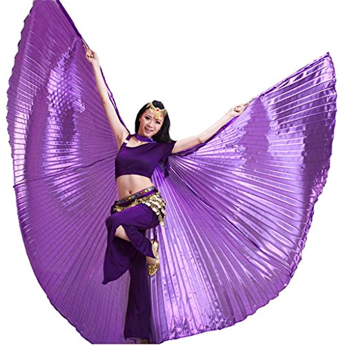 [Pilot-trade Women's Professional Belly Dance Costume Angle Isis Wings No Stick Purple] (Purple Belly Dance Costume)