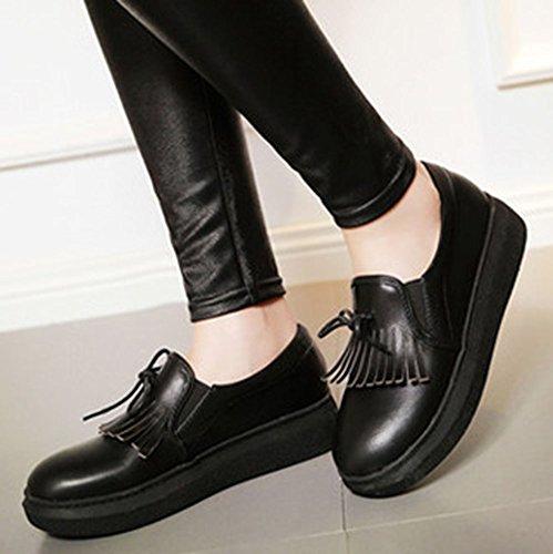 Easemax Kvinna Rund Tå Lågt Skuren Båge Fringe Tasseled Loafers Plattform Mode Sneakers Svart
