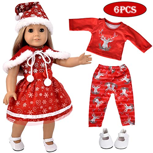 ebuddy 5pc Christmas Doll Clothes Sets Doll Shoes 18 inch Dolls Like American Girl, Journey Girl Dolls, Our Generation Dolls